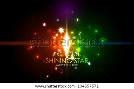 Shining explosion abstract background - stock vector