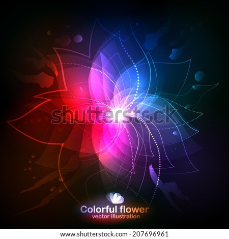 Shining Flower On A Dark Background Vector Illustration Can Be Used For Web Design