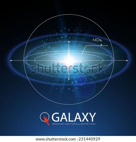 Shining galaxy illustration. Vector - stock vector