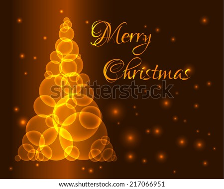 Shining gold christmas tree made from circles or bubbles - stock vector