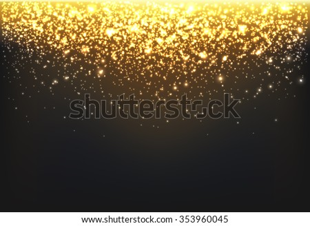 Shining gold explosion on black background, vector