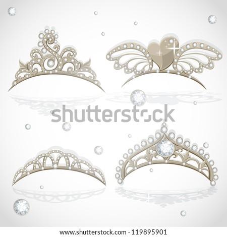 Shining gold girls tiaras with diamonds on the hoop set - stock vector