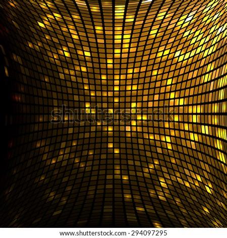 Shining golden disco mosaic background - stock vector