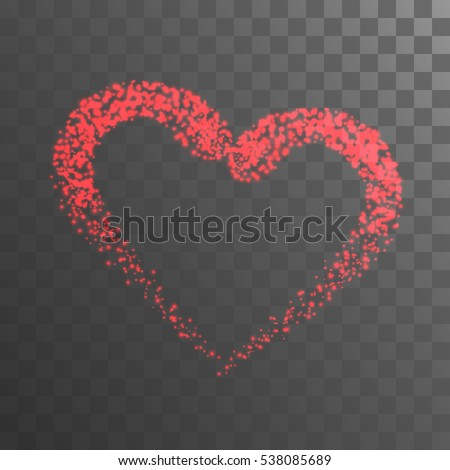 Shining heart with red lights on black transparent background. Valentine background. Vector illustration.