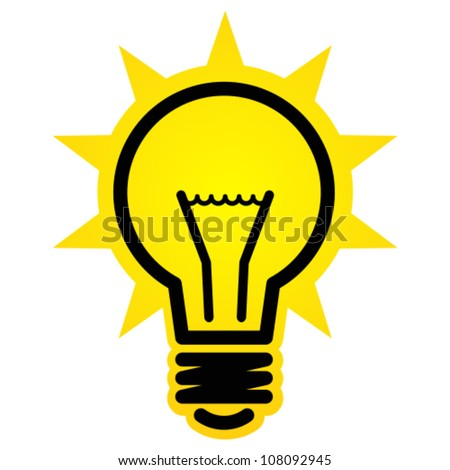 Shining light bulb icon - stock vector