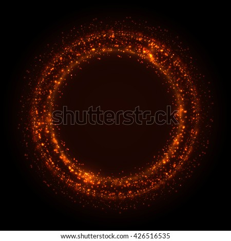 Shining lights abstract circle. Bright round frame. Vector abstract background. - stock vector