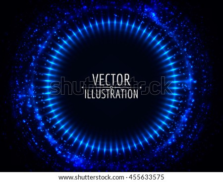 Shining lights abstract circle. Bright round frame. Vector background. - stock vector