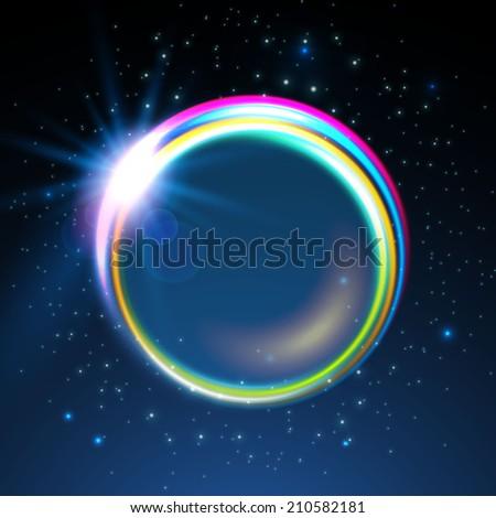 Shining rainbow neon lights circle frame.  Vector illustration - stock vector