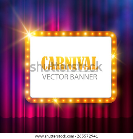 Shining retro banner on stage curtain. Vector illustration - stock vector