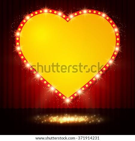 Shining retro heart on stage curtain. Vector illustration - stock vector