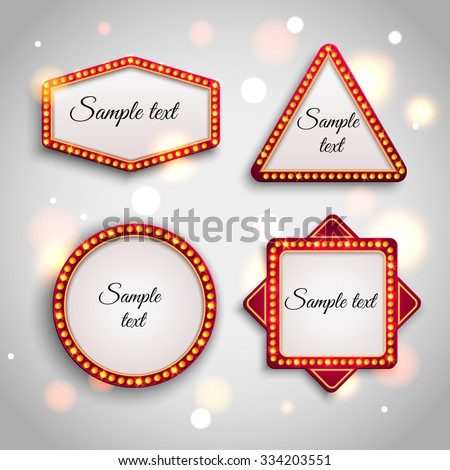 Shining retro light banner. Glowing cinema, casinos and cafes signboard with light bulbs on the contour. Set of abstract holiday light bulbs to create signage and banners. Vector illustration EPS 10. - stock vector