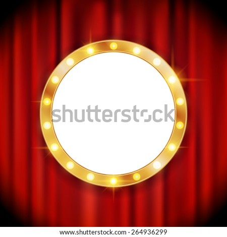 Shining retro light banner on the red curtain background - stock vector