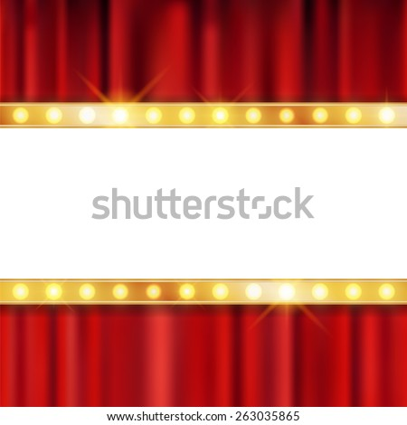 Shining retro light banner on the red curtain theatre background - stock vector