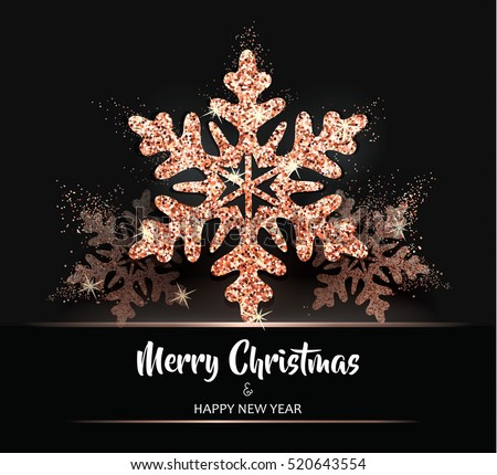 Shining Rose Gold Snowflakes Elegant Christmas Background Card Template