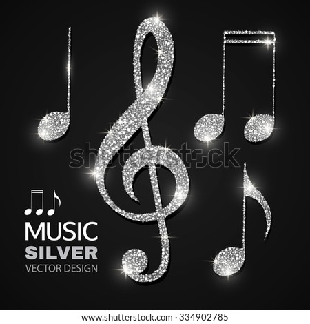 Shining Silver Notes & Treble Clef Collection. Vector illustration  - stock vector