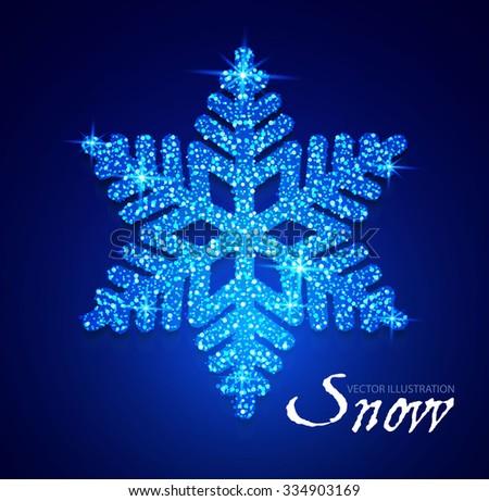 Shining Snowflake. Elegant Christmas & Winter Element. Vector illustration - stock vector
