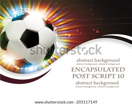 Shining soccer ball on abstract  background with fireworks.  Abstract soccer background. - stock vector