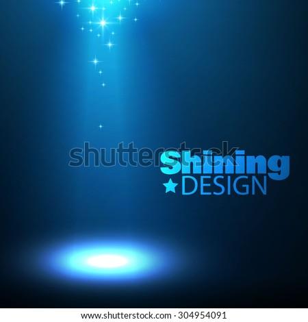 Shining spotlight. Empty scene illuminated design. Beam vector illustration  - stock vector
