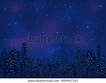 Shining stars on blue sky, space background, illustration. - stock vector