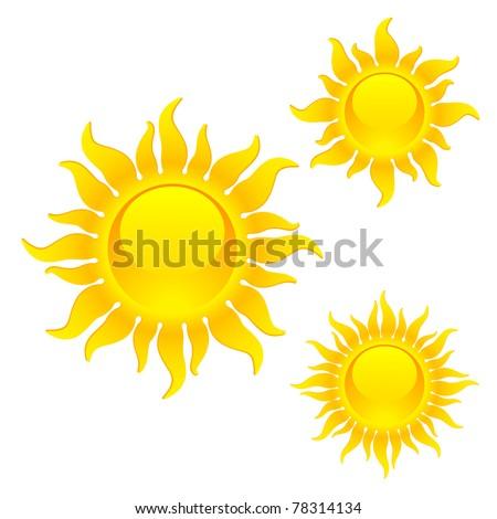 Shining sun symbols. Vector. - stock vector