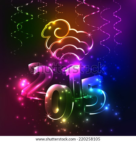 Shining Vector Happy New Year - 2015. Background with sheep. Colorful background. Lights. Sign. Numbers.