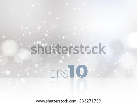 Shining white snow Blur Studio Christmas Backdrop. Vector illustration - stock vector