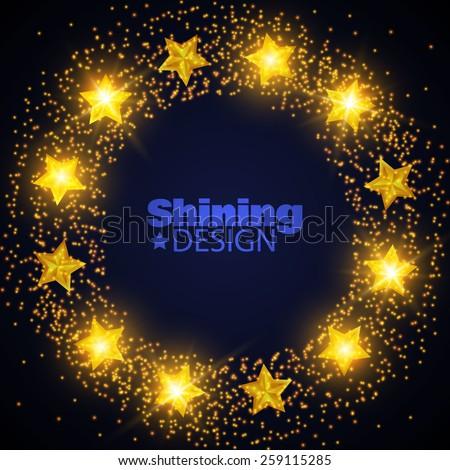 Shining yellow stars vector circle frame. Vector illustration - stock vector