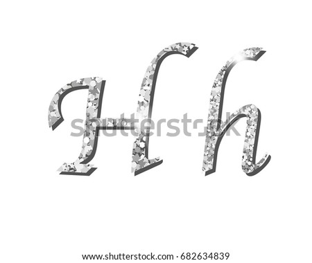 Shinning silver luxury typographic alphabet fonts