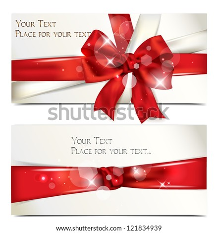Shinny holiday card with red ribbon and bow - stock vector