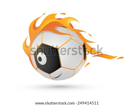 Shiny American soccer ball in fire on white background.  - stock vector