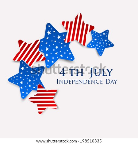 Shiny and creative colorful stars with stylish text 4th of July for American Independence Day celebrations. - stock vector