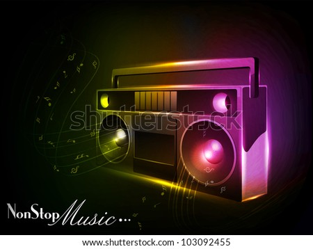 Shiny and glowing Radio on musical background. EPS 10, Vector illustration. can be use as banner, tag, icon, sticker, flyer or poster. - stock vector