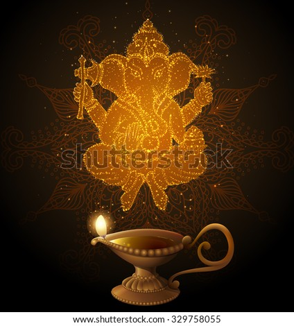 Shiny Background with Ganesha. EPS 10 contains transparency. - stock vector