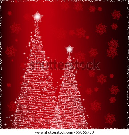 Shiny background with two Christmas trees - stock vector