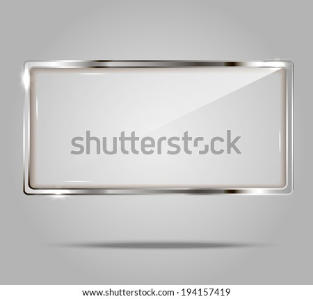 Shiny banner with silver metal / metallic frame, vector illustration - stock vector