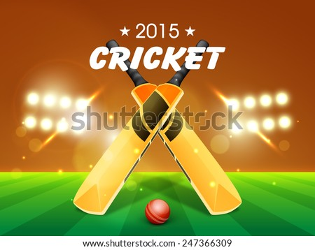 Shiny bats with red ball for Cricket 2015 on stadium lights background. - stock vector