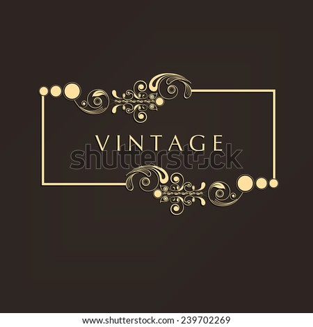 Shiny beautiful vintage frame with space for your text on brown background. - stock vector