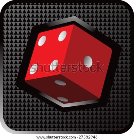 shiny black dice icon - stock vector