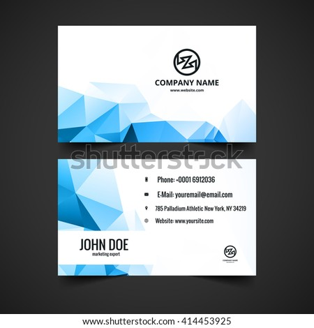 Shiny blue business card vector