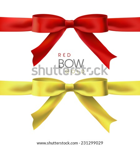 shiny bow in red and gold isolated on white