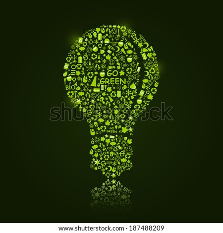Shiny Bright Bulb Silhouette on Dark Green Background. Think Green Concept. - stock vector
