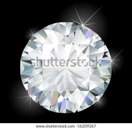Shiny bright diamond - stock vector