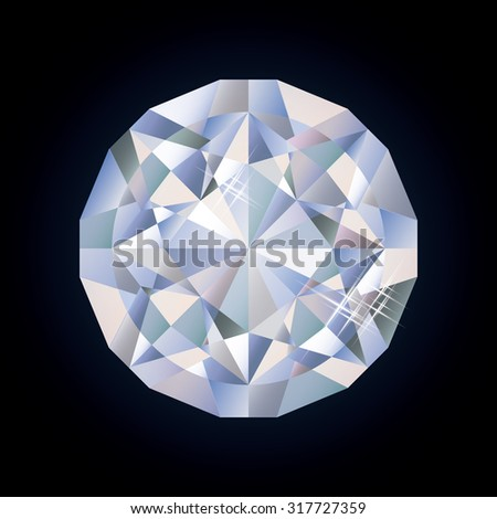 Shiny bright diamond, vector illustration