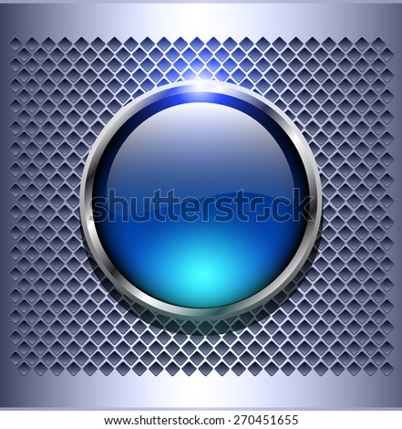Shiny button blue glossy metallic, vector illustration - stock vector