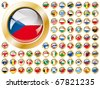 Shiny button flags with golden frame collection -  vector illustration. Isolated abstract object against white background. - stock vector