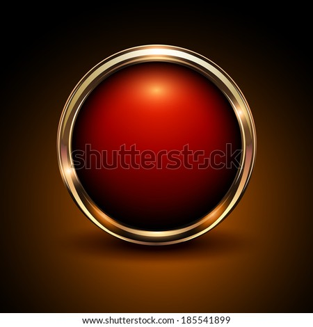 Shiny button red and gold glossy metallic, vector illustration - stock vector