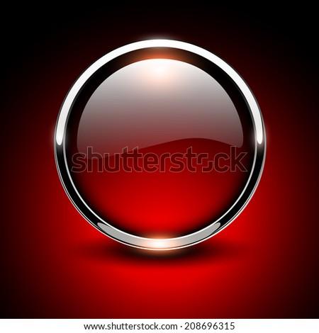 Shiny button red glossy metallic, vector illustration - stock vector