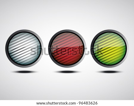 shiny buttons with lines - stock vector