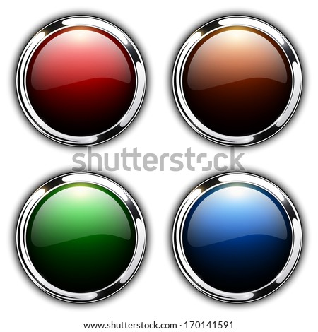 Shiny buttons with metallic elements, vector design. - stock vector