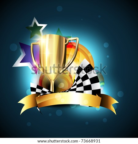 shiny champion trophy vector design - stock vector